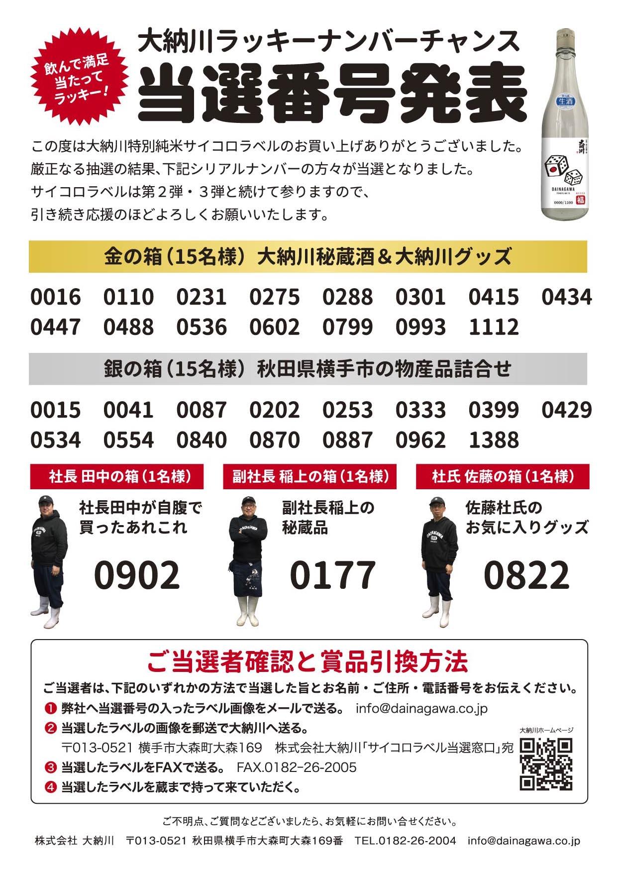 大納川 サイコロラベル 当選者発表